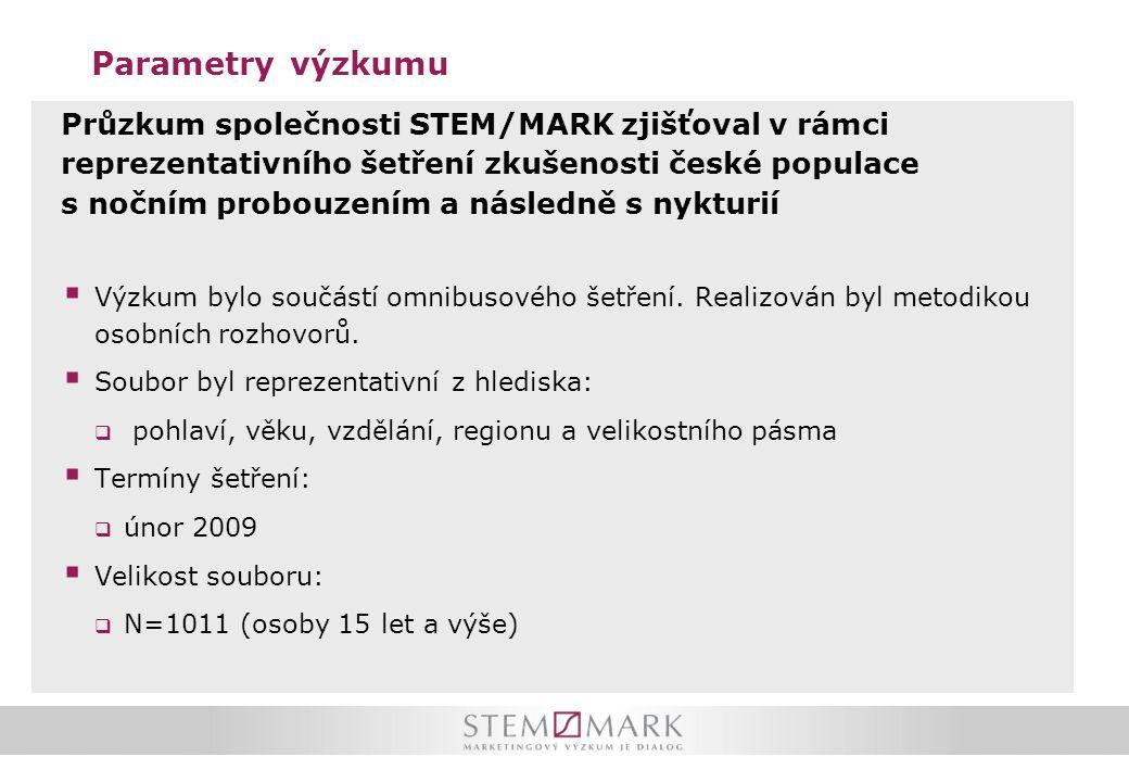 Parametry výzkumu Průzkum společnosti STEM/MARK zjišťoval v rámci reprezentativního šetření zkušenosti české populace s nočním probouzením a následně