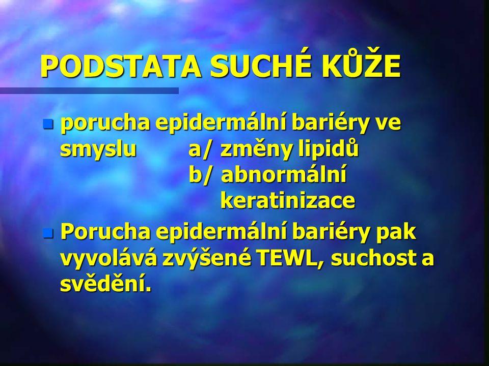 PODSTATA SUCHÉ KŮŽE n porucha epidermální bariéry ve smyslu a/ změny lipidů b/ abnormální keratinizace n Porucha epidermální bariéry pak vyvolává zvýš
