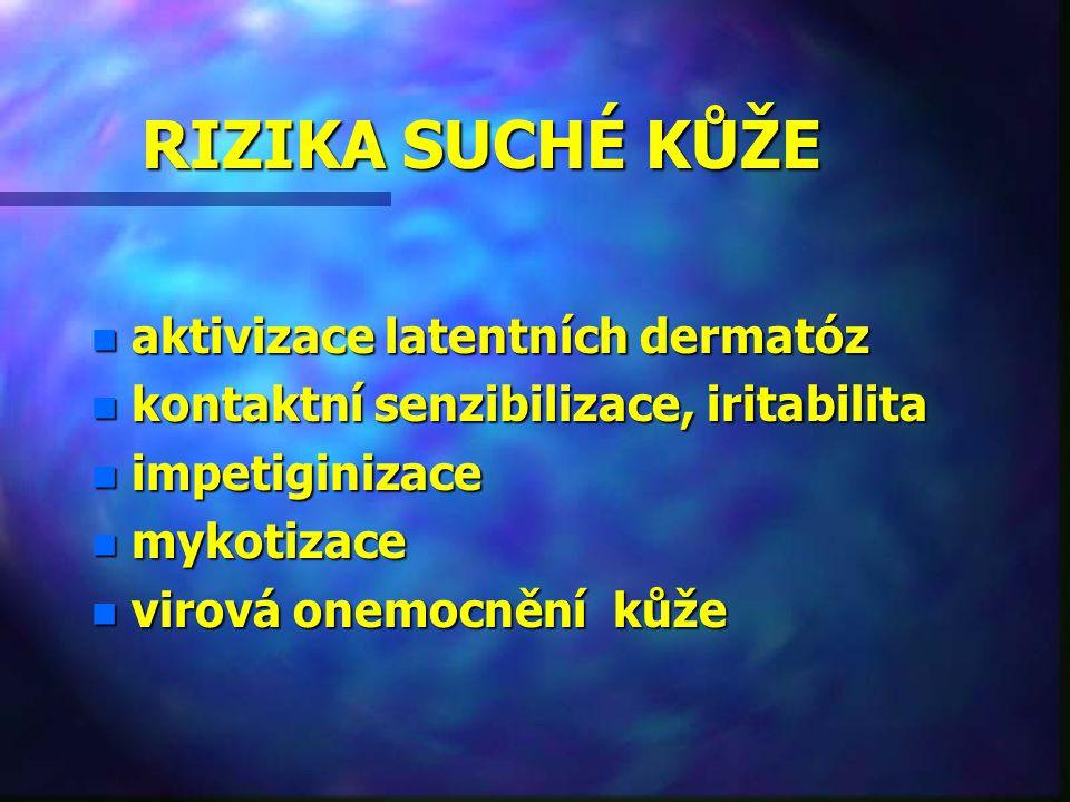 RIZIKA SUCHÉ KŮŽE n aktivizace latentních dermatóz n kontaktní senzibilizace, iritabilita n impetiginizace n mykotizace n virová onemocnění kůže