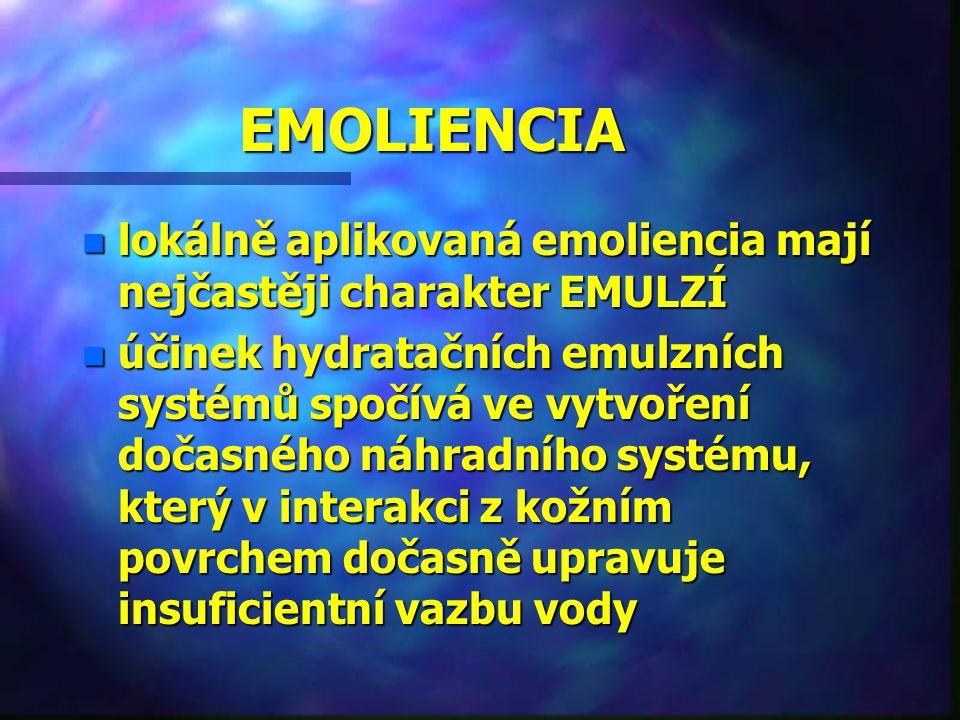 EMOLIENCIA n lokálně aplikovaná emoliencia mají nejčastěji charakter EMULZÍ n účinek hydratačních emulzních systémů spočívá ve vytvoření dočasného náh