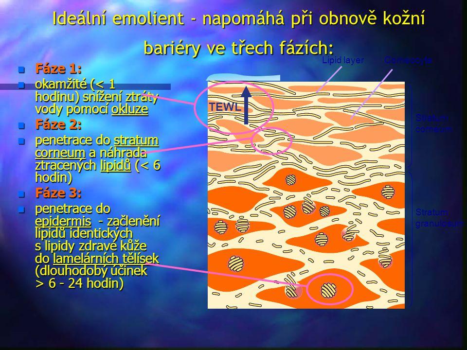 Ideální emolient - napomáhá při obnově kožní bariéry ve třech fázích: TEWL CorneocyteLipid layer Stratum corneum Stratum granulosum n Fáze 1: n okamži