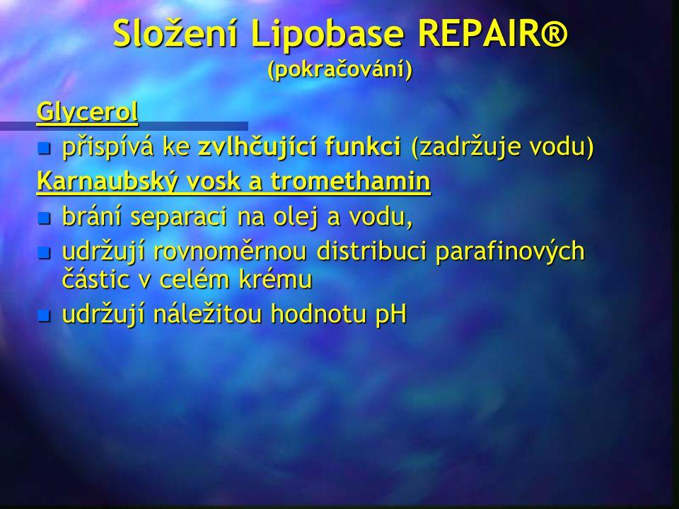 Složení Lipobase REPAIR® (pokračování) Glycerol n přispívá ke zvlhčující funkci (zadržuje vodu) Karnaubský vosk a tromethamin n brání separaci na olej