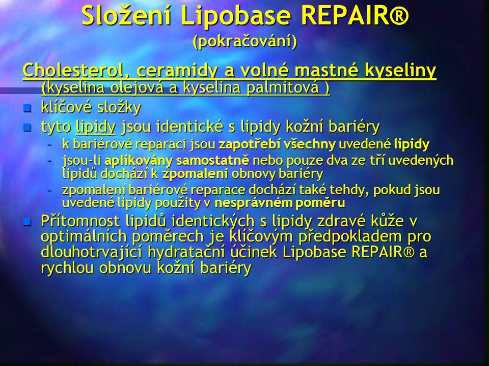 Složení Lipobase REPAIR® (pokračování) Cholesterol, ceramidy a volné mastné kyseliny (kyselina olejová a kyselina palmitová ) n klíčové složky n tyto