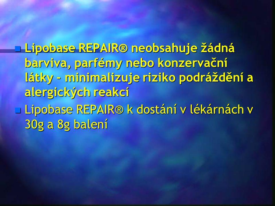 n Lipobase REPAIR® neobsahuje žádná barviva, parfémy nebo konzervační látky - minimalizuje riziko podráždění a alergických reakcí n Lipobase REPAIR® k