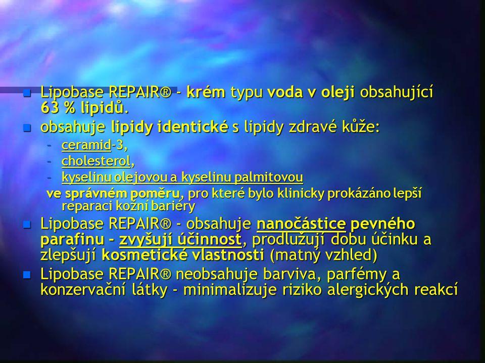 n Lipobase REPAIR® - krém typu voda v oleji obsahující 63 % lipidů. n obsahuje lipidy identické s lipidy zdravé kůže: –ceramid-3, –cholesterol, –kysel