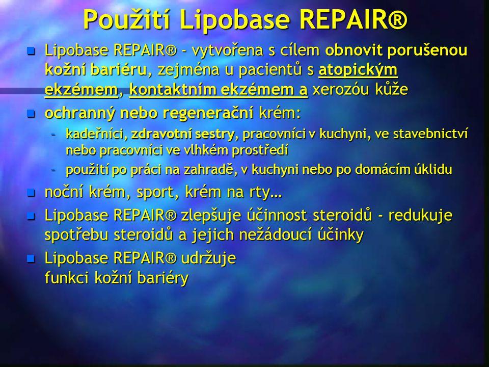 Použití Lipobase REPAIR® n Lipobase REPAIR® - vytvořena s cílem obnovit porušenou kožní bariéru, zejména u pacientů s atopickým ekzémem, kontaktním ek