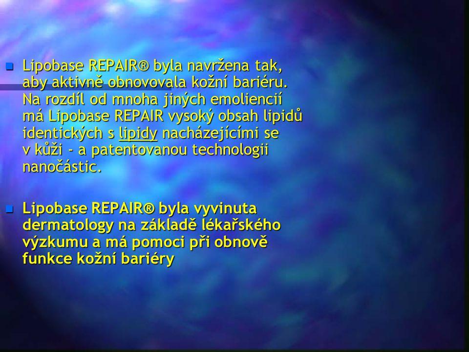 n Lipobase REPAIR® byla navržena tak, aby aktivně obnovovala kožní bariéru. Na rozdíl od mnoha jiných emoliencií má Lipobase REPAIR vysoký obsah lipid
