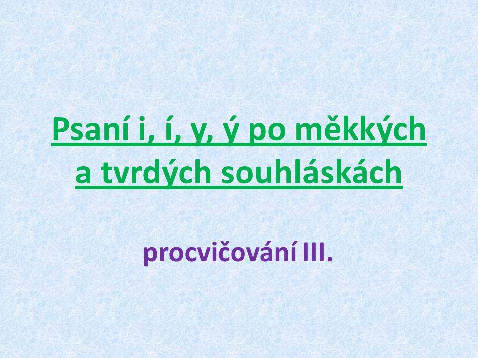 Psaní i, í, y, ý po měkkých a tvrdých souhláskách procvičování III.