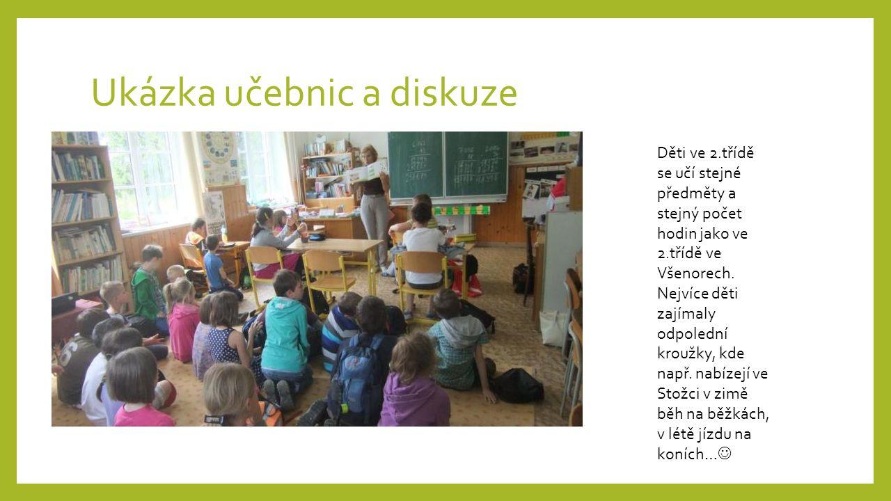 Ukázka učebnic a diskuze Děti ve 2.třídě se učí stejné předměty a stejný počet hodin jako ve 2.třídě ve Všenorech. Nejvíce děti zajímaly odpolední kro
