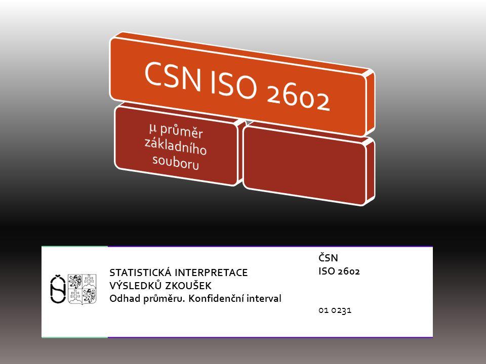 STATISTICKÁ INTERPRETACE VÝSLEDKŮ ZKOUŠEK Odhad průměru. Konfidenční interval ČSN ISO 2602 01 0231