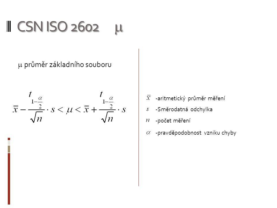 CSN ISO 2602   průměr základního souboru -aritmetický průměr měření -Směrodatná odchylka -počet měření -pravděpodobnost vzniku chyby