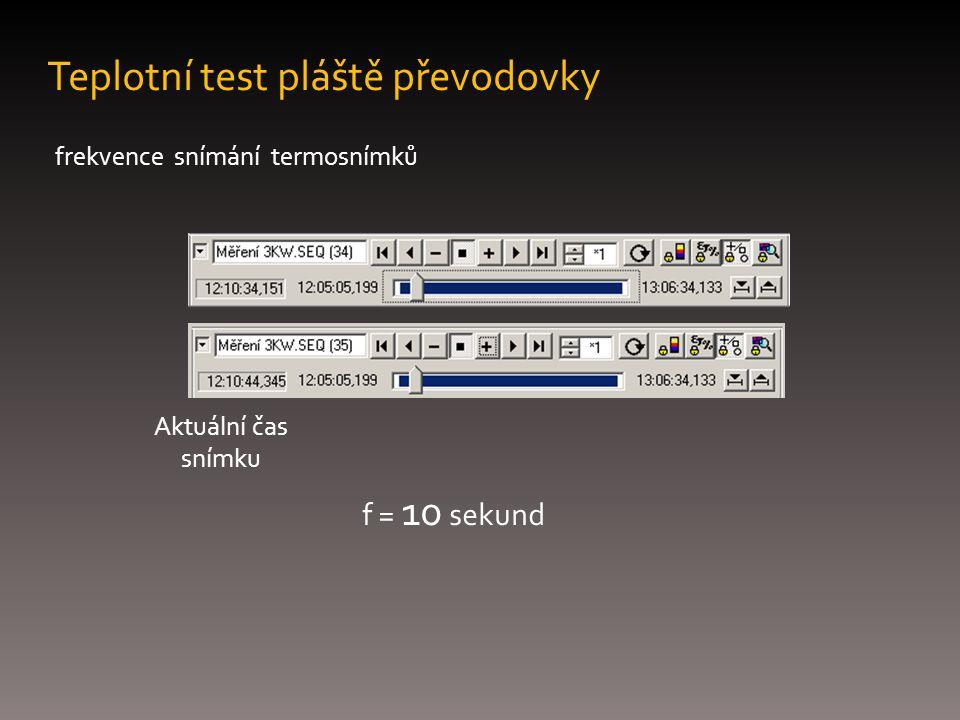 Teplotní test pláště převodovky frekvence snímání termosnímků Aktuální čas snímku f = 10 sekund