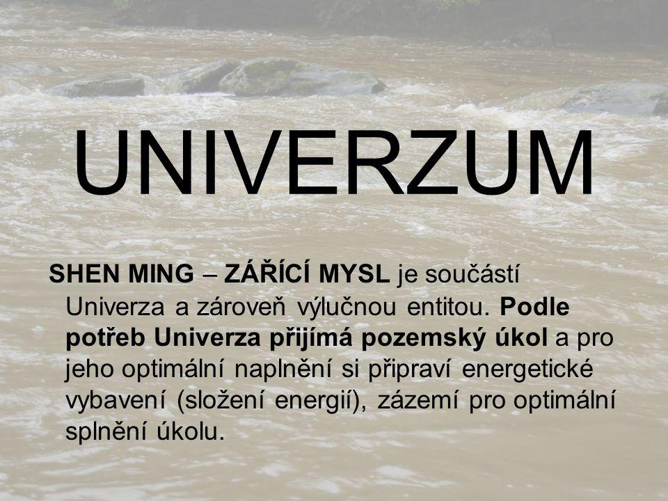 UNIVERZUM SHEN MING – ZÁŘÍCÍ MYSL je součástí Univerza a zároveň výlučnou entitou. Podle potřeb Univerza přijímá pozemský úkol a pro jeho optimální na
