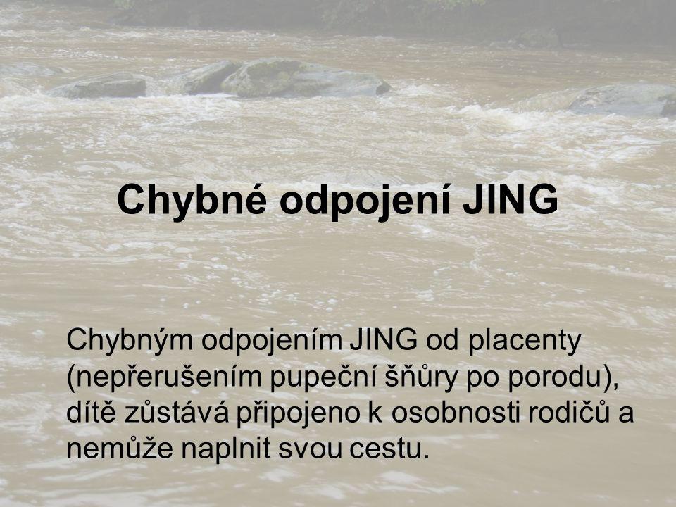 Chybné odpojení JING Chybným odpojením JING od placenty (nepřerušením pupeční šňůry po porodu), dítě zůstává připojeno k osobnosti rodičů a nemůže naplnit svou cestu.