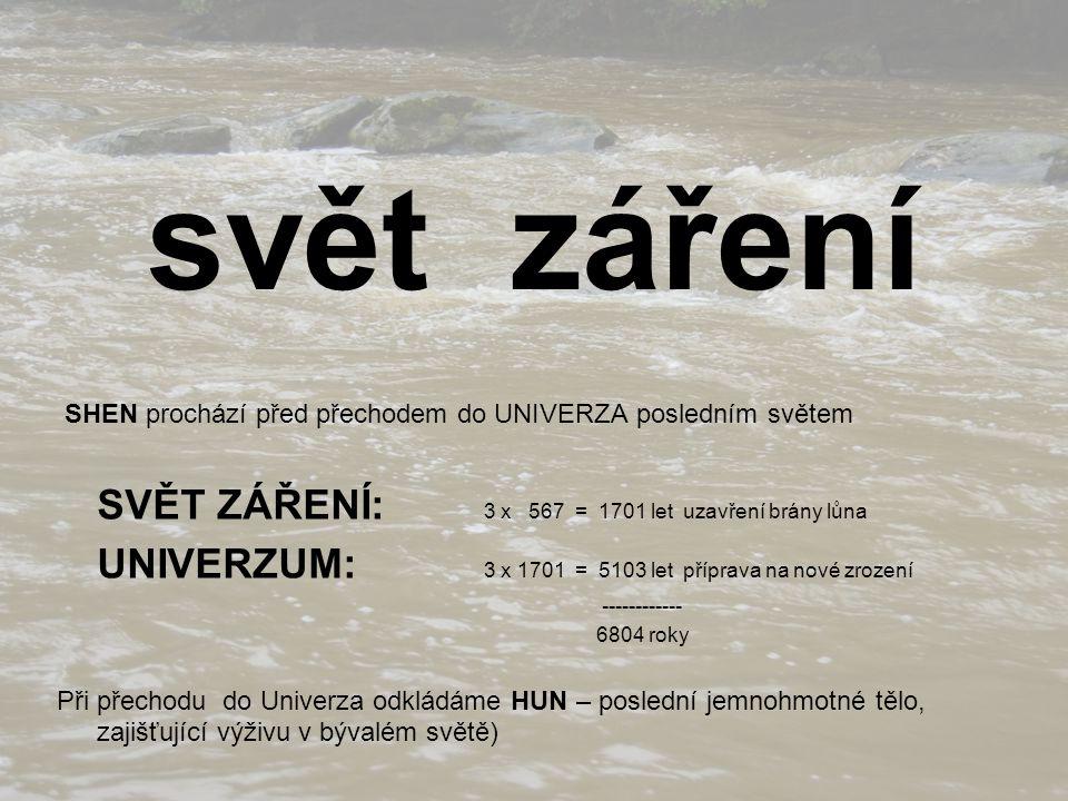 svět záření SHEN prochází před přechodem do UNIVERZA posledním světem SVĚT ZÁŘENÍ: 3 x 567 = 1701 let uzavření brány lůna UNIVERZUM: 3 x 1701 = 5103 let příprava na nové zrození ------------ 6804 roky Při přechodu do Univerza odkládáme HUN – poslední jemnohmotné tělo, zajišťující výživu v bývalém světě)