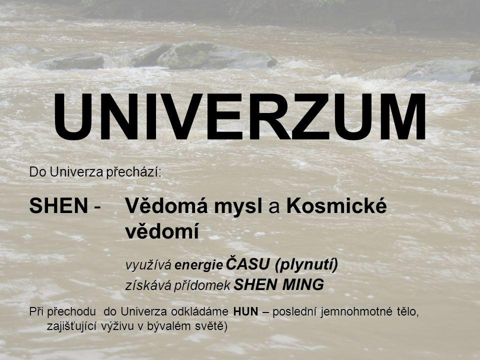 UNIVERZUM Do Univerza přechází: SHEN - Vědomá mysl a Kosmické vědomí využívá energie ČASU (plynutí) získává přídomek SHEN MING Při přechodu do Univerza odkládáme HUN – poslední jemnohmotné tělo, zajišťující výživu v bývalém světě)