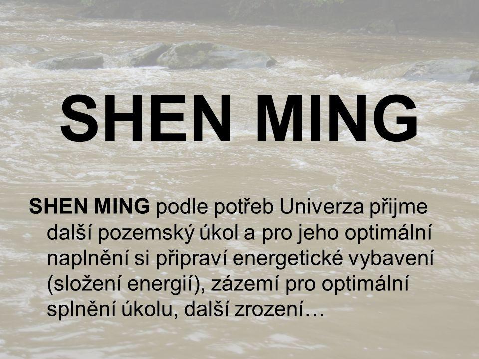 SHEN MING SHEN MING podle potřeb Univerza přijme další pozemský úkol a pro jeho optimální naplnění si připraví energetické vybavení (složení energií), zázemí pro optimální splnění úkolu, další zrození…