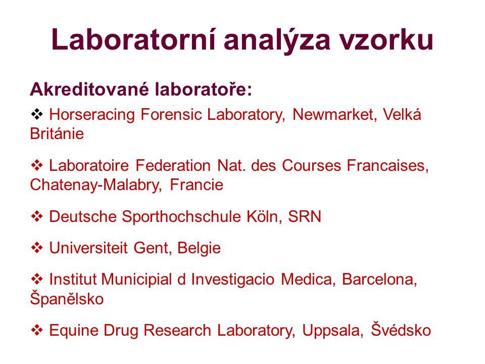 Laboratorní analýza vzorku Akreditované laboratoře:  Horseracing Forensic Laboratory, Newmarket, Velká Británie  Laboratoire Federation Nat.
