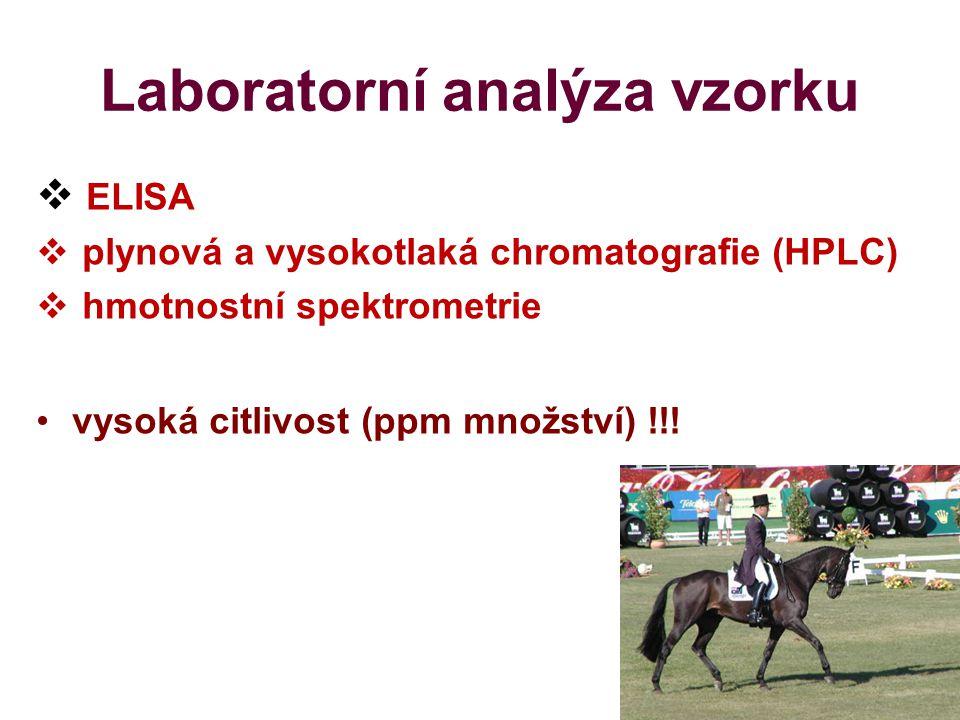 Laboratorní analýza vzorku  ELISA  plynová a vysokotlaká chromatografie (HPLC)  hmotnostní spektrometrie vysoká citlivost (ppm množství) !!!