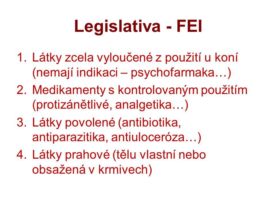 Legislativa - FEI 1.Látky zcela vyloučené z použití u koní (nemají indikaci – psychofarmaka…) 2.Medikamenty s kontrolovaným použitím (protizánětlivé, analgetika…) 3.Látky povolené (antibiotika, antiparazitika, antiuloceróza…) 4.Látky prahové (tělu vlastní nebo obsažená v krmivech)