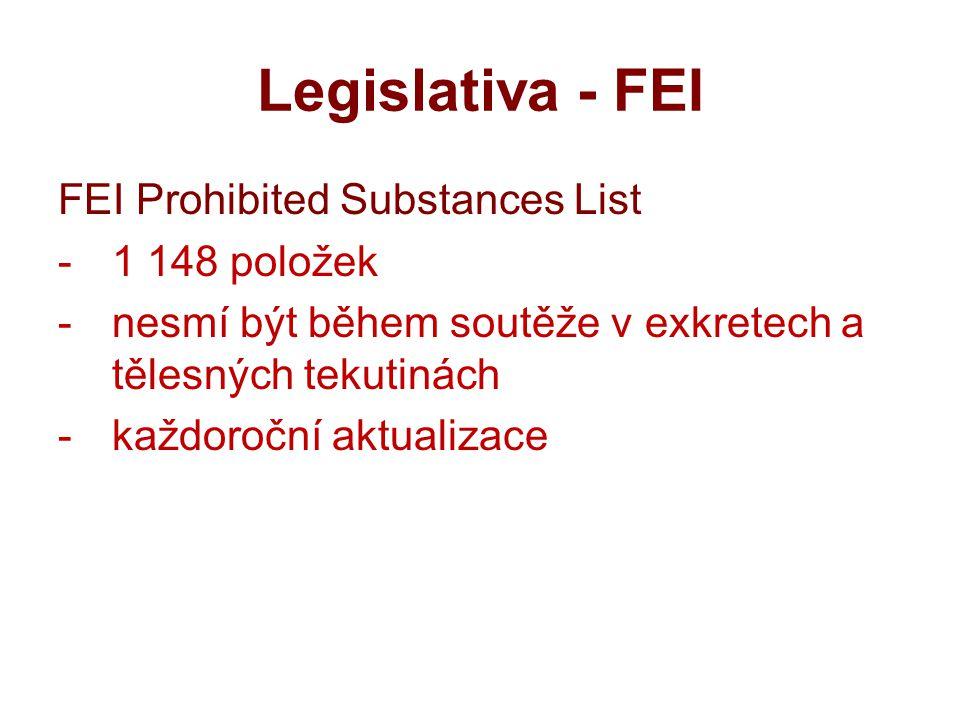 Legislativa - FEI FEI Prohibited Substances List -1 148 položek -nesmí být během soutěže v exkretech a tělesných tekutinách -každoroční aktualizace