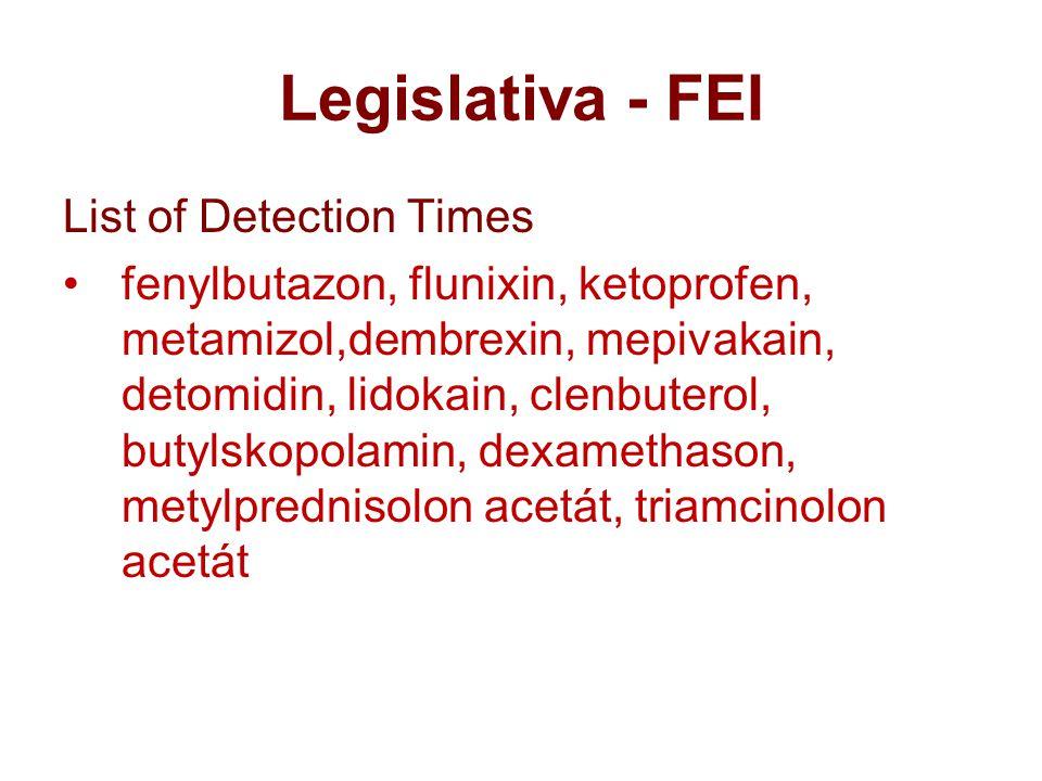 Legislativa - FEI List of Detection Times fenylbutazon, flunixin, ketoprofen, metamizol,dembrexin, mepivakain, detomidin, lidokain, clenbuterol, butylskopolamin, dexamethason, metylprednisolon acetát, triamcinolon acetát