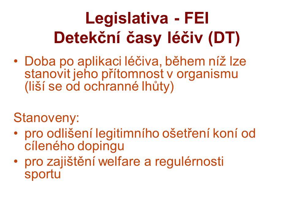 Legislativa - FEI Detekční časy léčiv (DT) Doba po aplikaci léčiva, během níž lze stanovit jeho přítomnost v organismu (liší se od ochranné lhůty) Stanoveny: pro odlišení legitimního ošetření koní od cíleného dopingu pro zajištění welfare a regulérnosti sportu