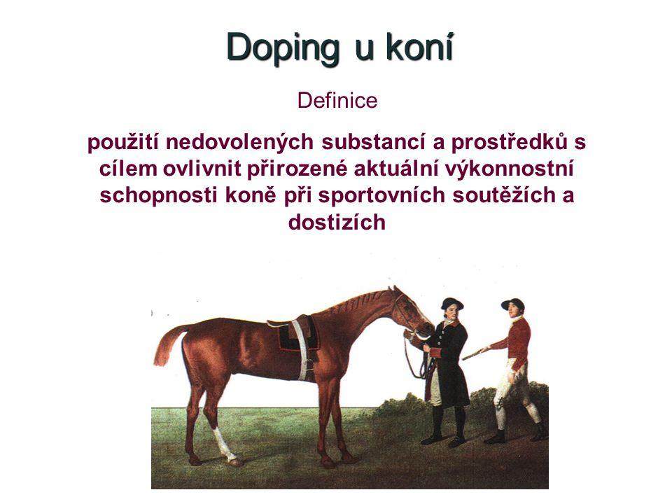 Doping u koní Definice použití nedovolených substancí a prostředků s cílem ovlivnit přirozené aktuální výkonnostní schopnosti koně při sportovních soutěžích a dostizích