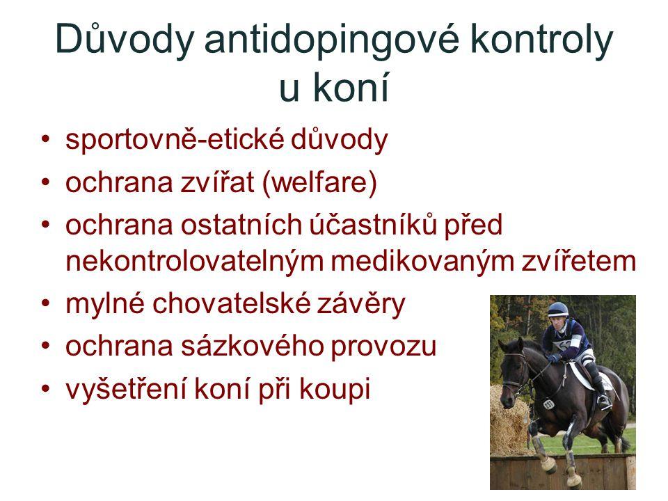 Důvody antidopingové kontroly u koní sportovně-etické důvody ochrana zvířat (welfare) ochrana ostatních účastníků před nekontrolovatelným medikovaným zvířetem mylné chovatelské závěry ochrana sázkového provozu vyšetření koní při koupi