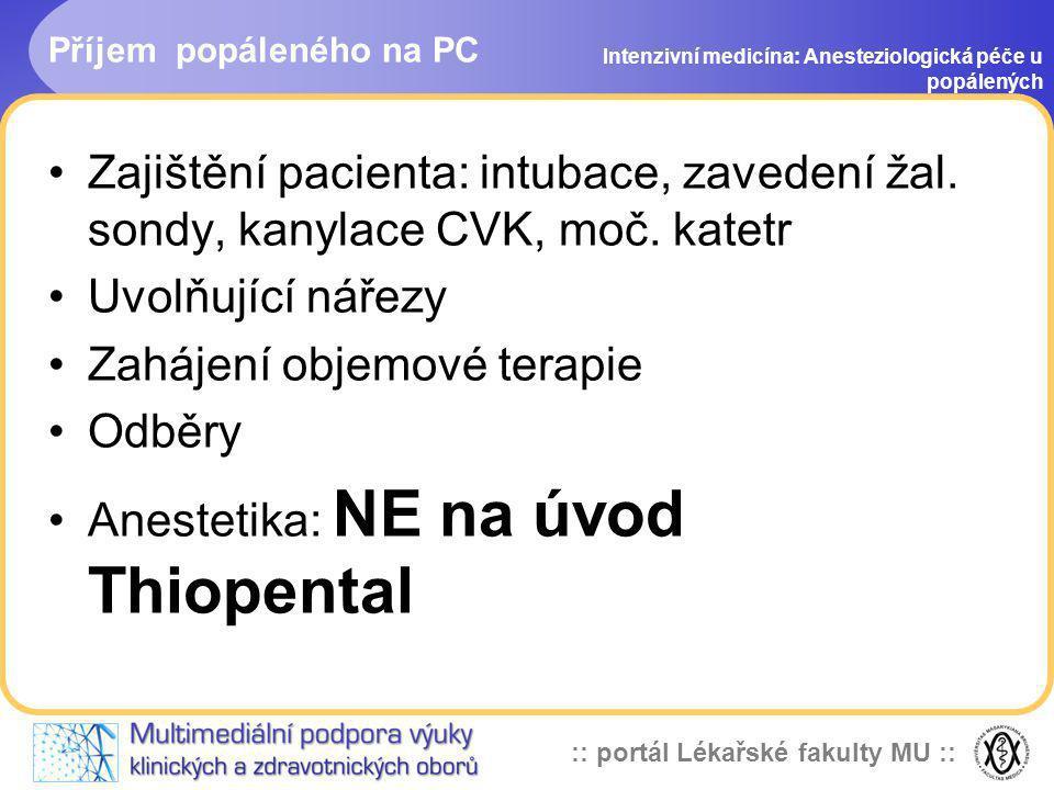 :: portál Lékařské fakulty MU :: Příjem popáleného na PC Intenzivní medicína: Anesteziologická péče u popálených Zajištění pacienta: intubace, zaveden