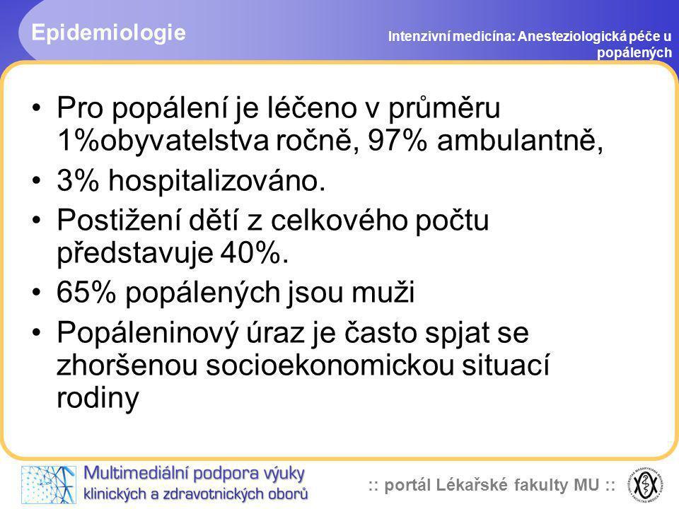 :: portál Lékařské fakulty MU :: Nejčastější příčiny popálení Intenzivní medicína: Anesteziologická péče u popálených 61% - horká tekutina, pára 24% - popálení plamenem 3,4% - elektrické popálení 3,9% - chemické poškození (poleptání)