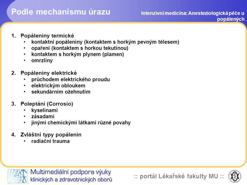 :: portál Lékařské fakulty MU :: Rozsáhlé popáleninové trauma Intenzivní medicína: Anesteziologická péče u popálených Holoorganické postižení organismu způsobené poškozením kožního krytu s vystupňovanou poplachovou reakcí a syndromem hypovolemického šoku Na periferii vyplavením interleukinu-6 vzniká vasodilatace Ztráta bakteriální bariéry Ztráta termoregulace
