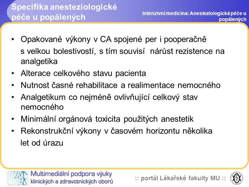 :: portál Lékařské fakulty MU :: Specifika anesteziologické péče u popálených Intenzivní medicína: Anesteziologická péče u popálených Opakované výkony