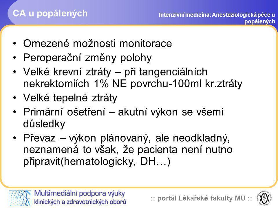 :: portál Lékařské fakulty MU :: CA u popálených Intenzivní medicína: Anesteziologická péče u popálených Omezené možnosti monitorace Peroperační změny