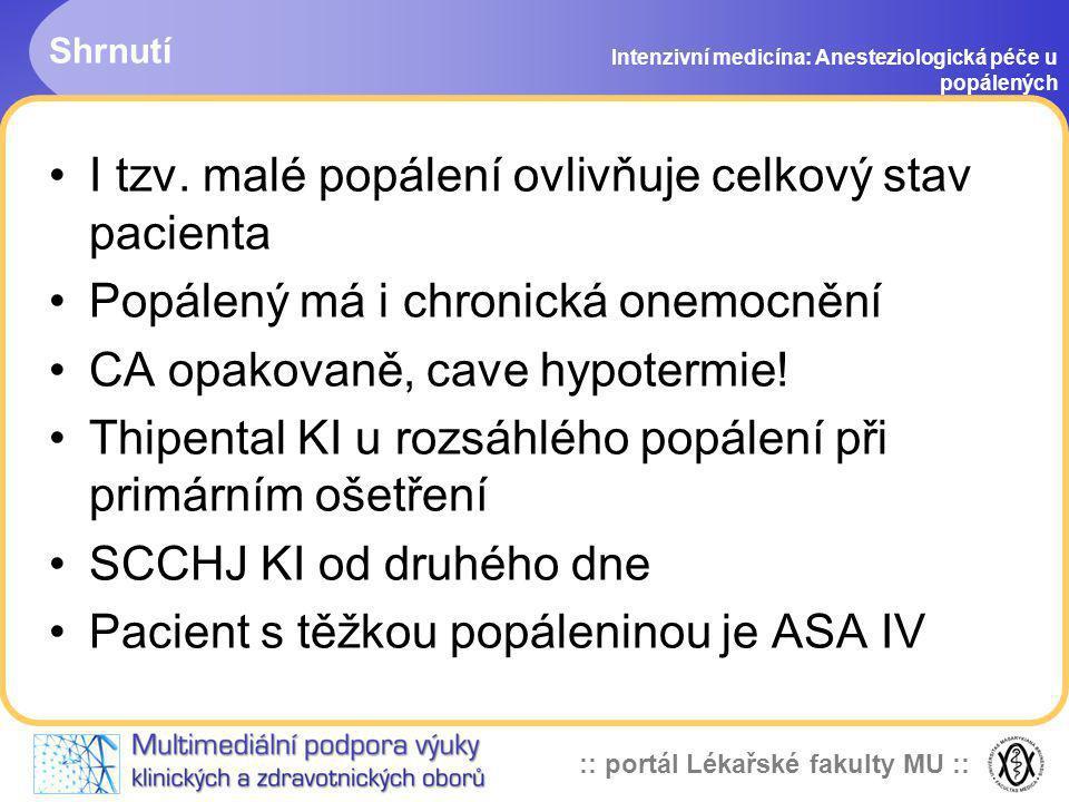:: portál Lékařské fakulty MU :: Shrnutí Intenzivní medicína: Anesteziologická péče u popálených I tzv. malé popálení ovlivňuje celkový stav pacienta