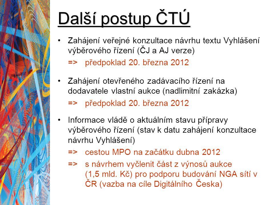 Další postup ČTÚ Zahájení veřejné konzultace návrhu textu Vyhlášení výběrového řízení (ČJ a AJ verze) => předpoklad 20. března 2012 Zahájení otevřenéh