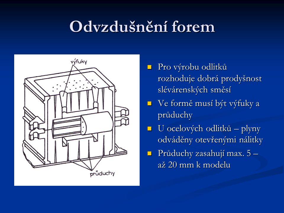 Odvzdušnění forem Pro výrobu odlitků rozhoduje dobrá prodyšnost slévárenských směsí Ve formě musí být výfuky a průduchy U ocelových odlitků – plyny odváděny otevřenými nálitky Průduchy zasahují max.