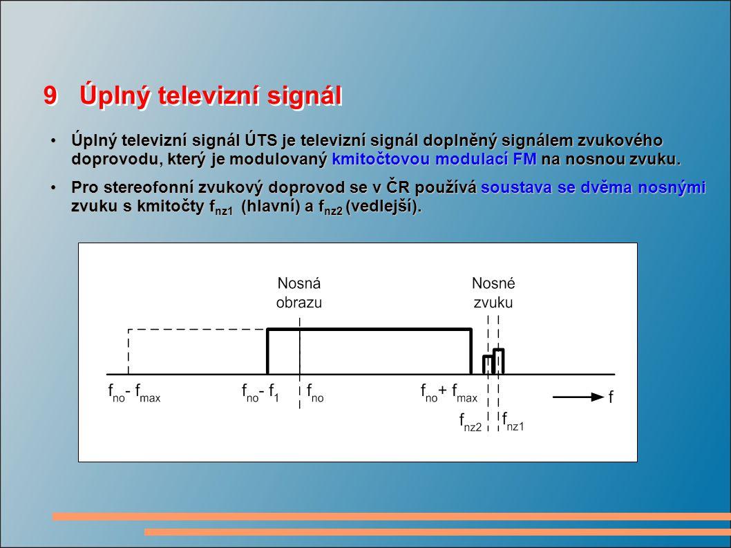 9 Úplný televizní signál Úplný televizní signál ÚTS je televizní signál doplněný signálem zvukového doprovodu, který je modulovaný kmitočtovou modulací FM na nosnou zvuku.
