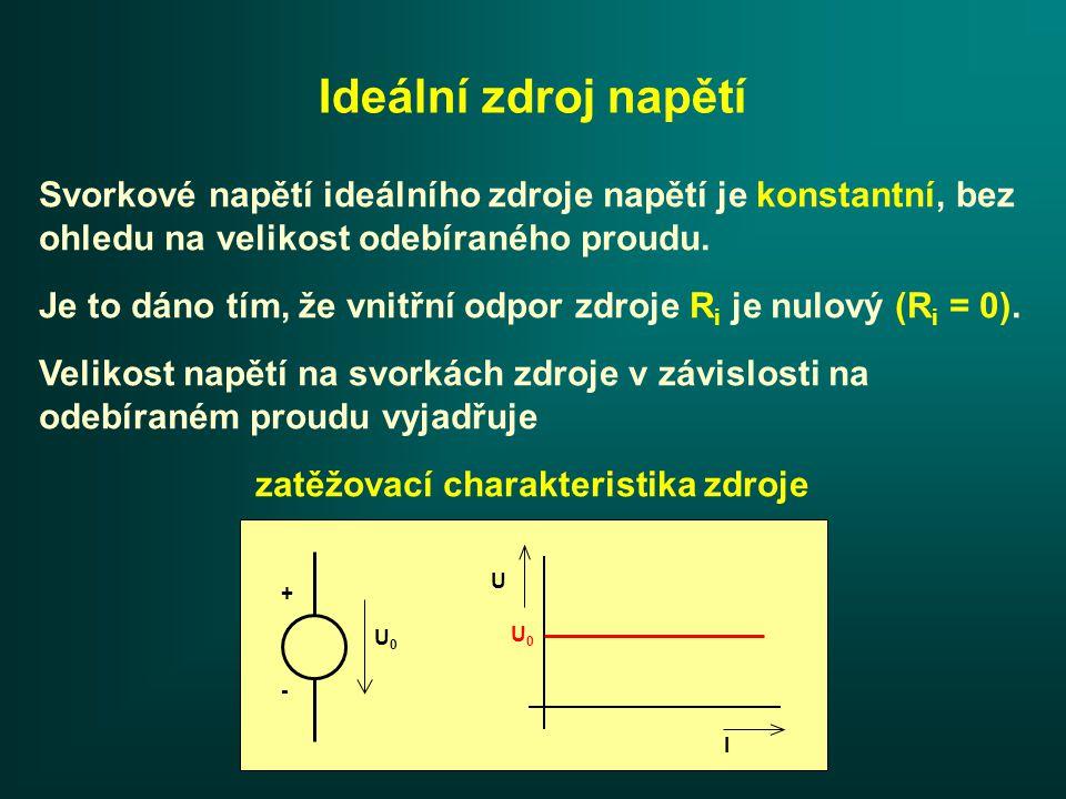 Ideální zdroj napětí Svorkové napětí ideálního zdroje napětí je konstantní, bez ohledu na velikost odebíraného proudu.