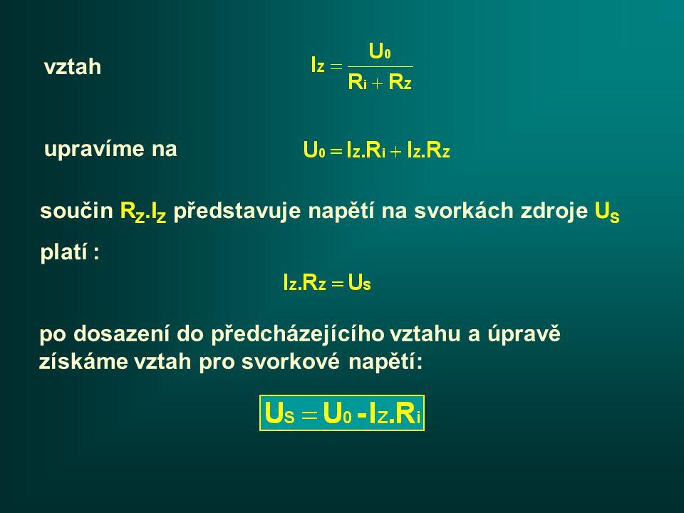 Pokud není ke zdroji připojena zátěž, pak I Z = 0 a svorkové napětí U S = U 0.