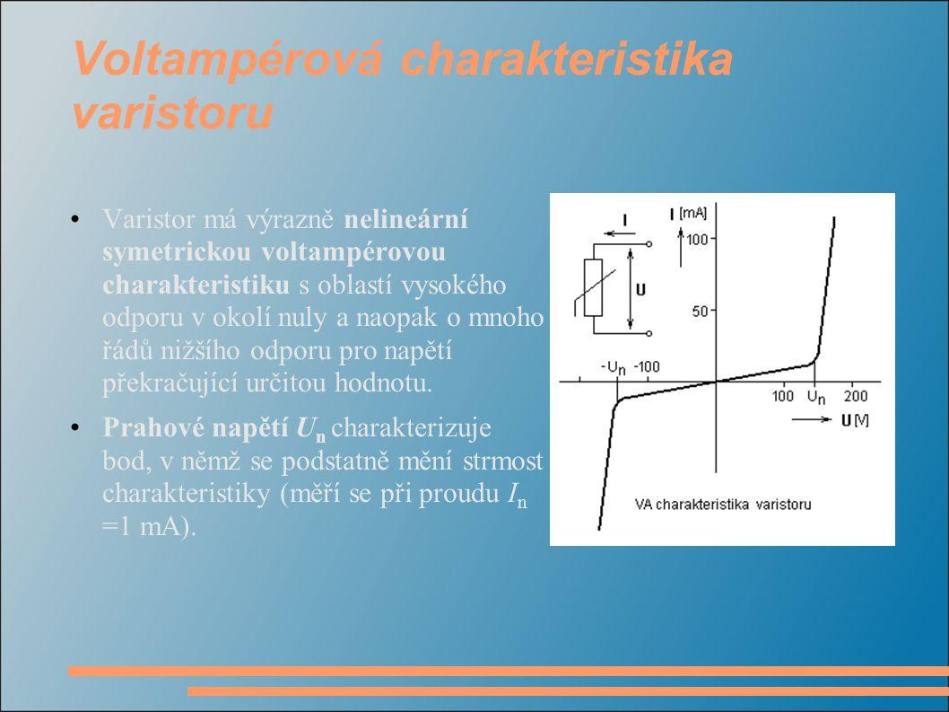 Voltampérová charakteristika varistoru Varistor má výrazně nelineární symetrickou voltampérovou charakteristiku s oblastí vysokého odporu v okolí nuly