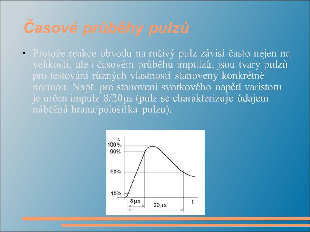 Časové průběhy pulzů Protože reakce obvodu na rušivý pulz závisí často nejen na velikosti, ale i časovém průběhu impulzů, jsou tvary pulzů pro testová