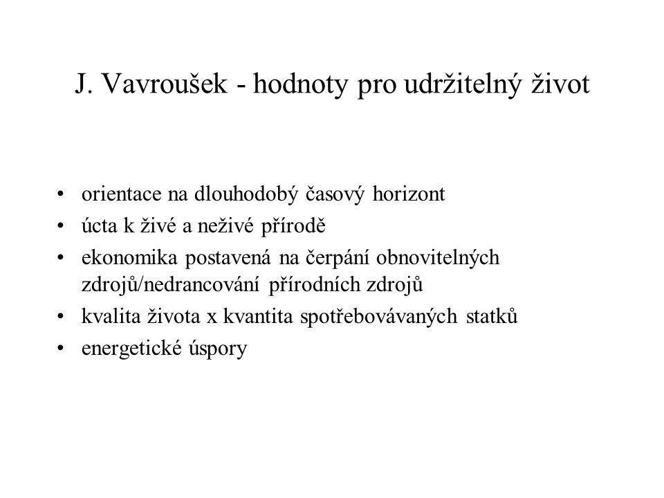 J. Vavroušek - hodnoty pro udržitelný život orientace na dlouhodobý časový horizont úcta k živé a neživé přírodě ekonomika postavená na čerpání obnovi
