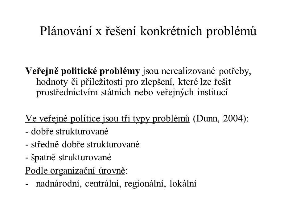 Plánování x řešení konkrétních problémů Veřejně politické problémy jsou nerealizované potřeby, hodnoty či příležitosti pro zlepšení, které lze řešit prostřednictvím státních nebo veřejných institucí Ve veřejné politice jsou tři typy problémů (Dunn, 2004): - dobře strukturované - středně dobře strukturované - špatně strukturované Podle organizační úrovně: - nadnárodní, centrální, regionální, lokální