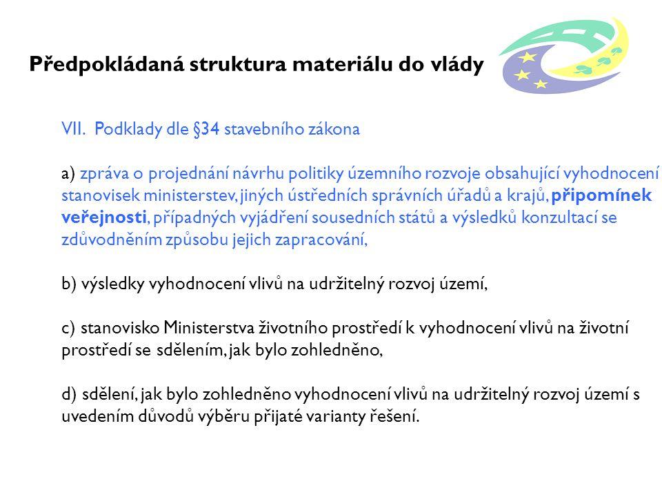 Předpokládaná struktura materiálu do vlády VII.
