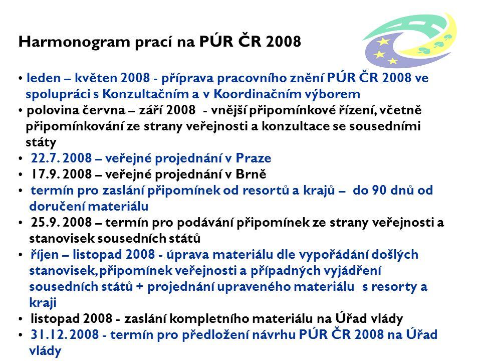 Harmonogram prací na PÚR ČR 2008 leden – květen 2008 - příprava pracovního znění PÚR ČR 2008 ve spolupráci s Konzultačním a v Koordinačním výborem polovina června – září 2008 - vnější připomínkové řízení, včetně připomínkování ze strany veřejnosti a konzultace se sousedními státy 22.7.