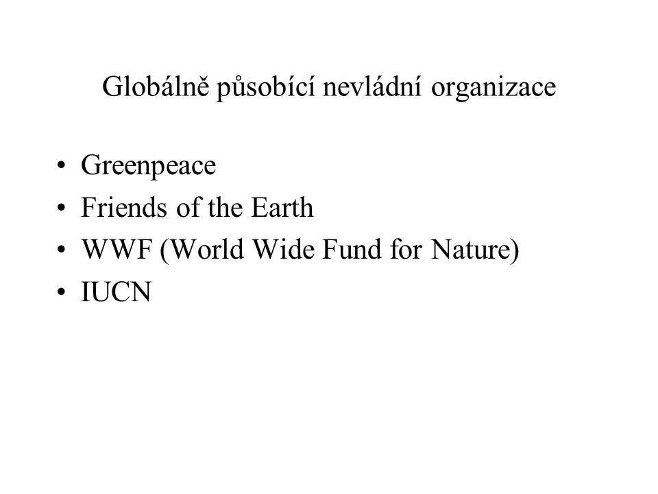 Globálně působící nevládní organizace Greenpeace Friends of the Earth WWF (World Wide Fund for Nature) IUCN