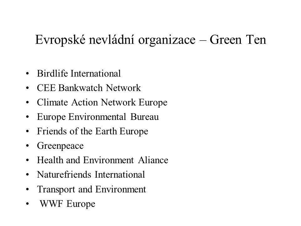 Evropské nevládní organizace – Green Ten Birdlife International CEE Bankwatch Network Climate Action Network Europe Europe Environmental Bureau Friends of the Earth Europe Greenpeace Health and Environment Aliance Naturefriends International Transport and Environment WWF Europe