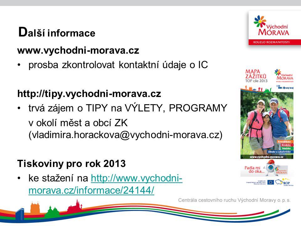 D alší informace www.vychodni-morava.cz prosba zkontrolovat kontaktní údaje o IC http://tipy.vychodni-morava.cz trvá zájem o TIPY na VÝLETY, PROGRAMY