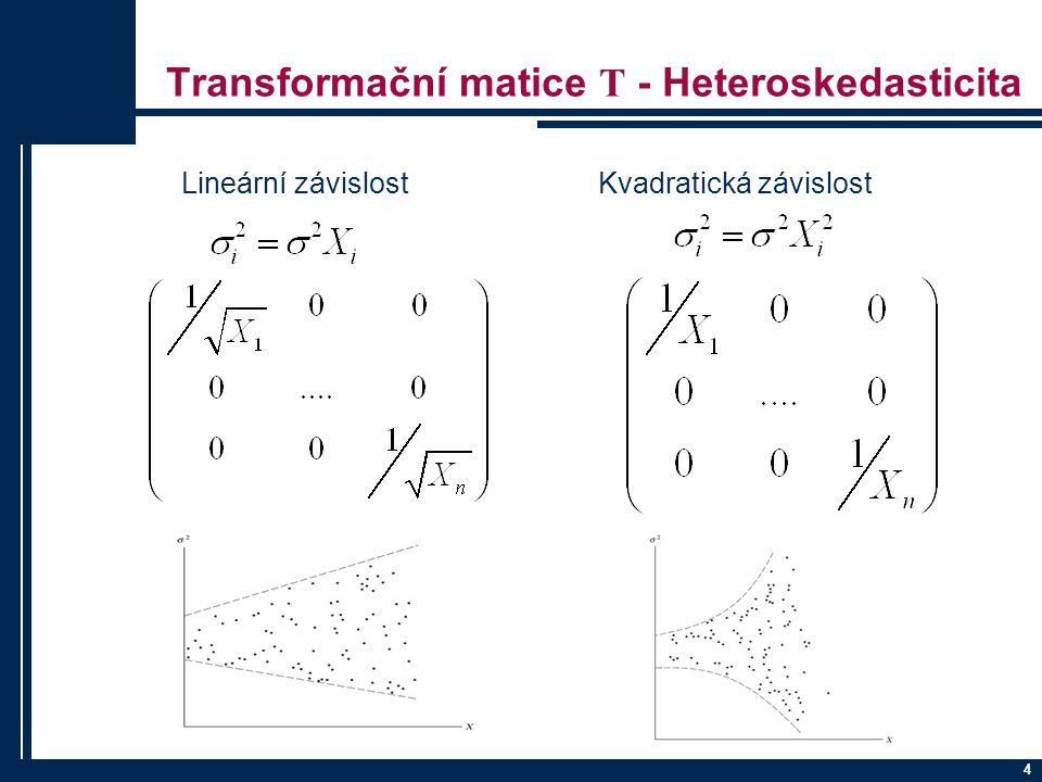 4 Transformační matice T - Heteroskedasticita Lineární závislost Kvadratická závislost